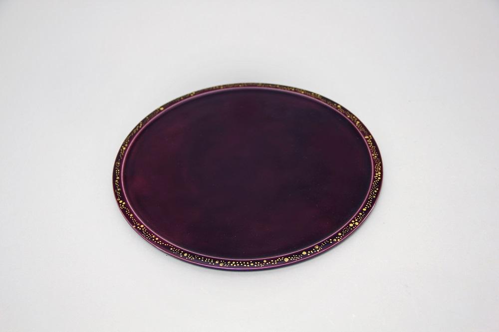 交趾金彩丸皿(紫)¥10,800 サイズ:Φ20、H:0.5(㎝)