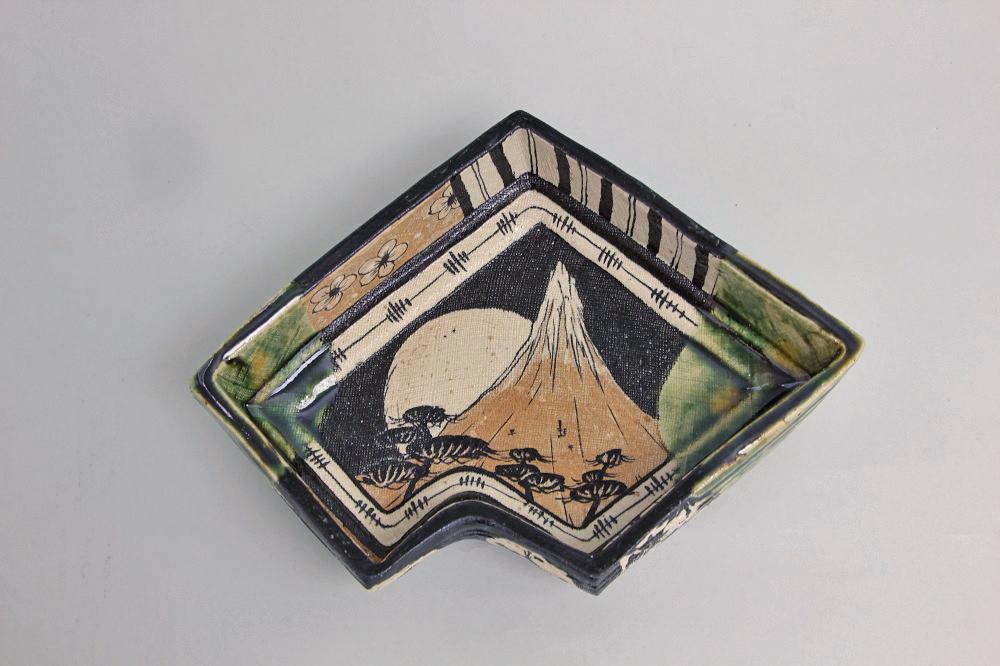 「織部菓子鉢」(池田-22) ¥27,000 W:24.4、D:18.7、H:6.6(㎝)